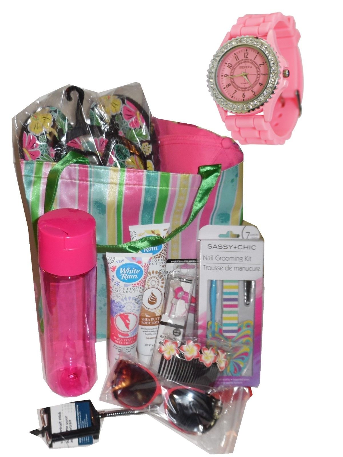 A Day At The Beach Gift Basket Watch Tote Flip Flops Cap Mom Sisters Birthday Baskets For Sister