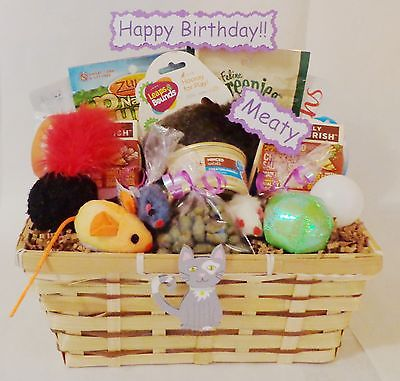 Cat Gift Basket Birthday Treats Toys Personalized