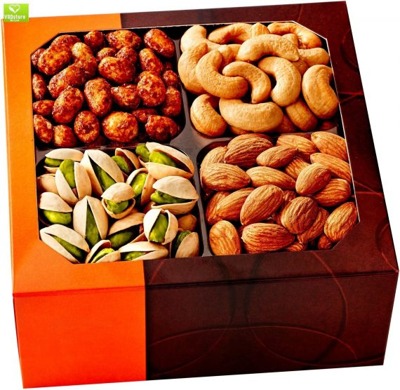 Holiday-Gift-Basket-Gourmet-Food-Nuts-4-Different-Delicious-Nuts-Five-Star-0