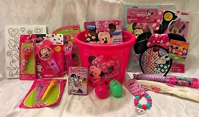 MINNIE-MOUSE-EASTERGIFT-BASKET-PAINT-SET-LIP-BALM-BRACELET-WHISTLE-MORE-0