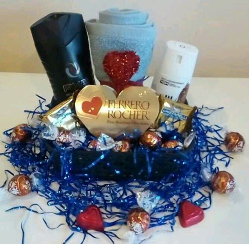 Men Boyfriend Birthday Gift Basket Axe Bath Body Ferrero Rocher Lindt Chocolate