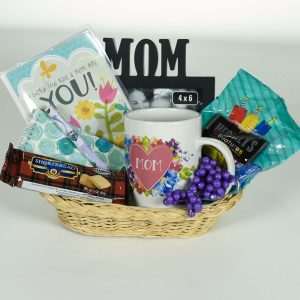 Mom Birthday Gift Basket Frame PhotobookMug Hershey Candy Shortbread Cookie