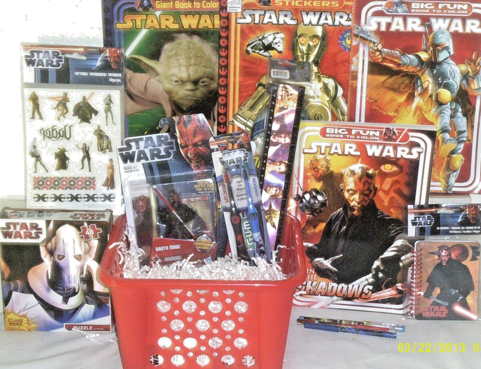 NEW STAR WARS EASTER TOY GIFT BASKET ACTION FIGURE TOYS BIRTHDAY BOOKS Playset