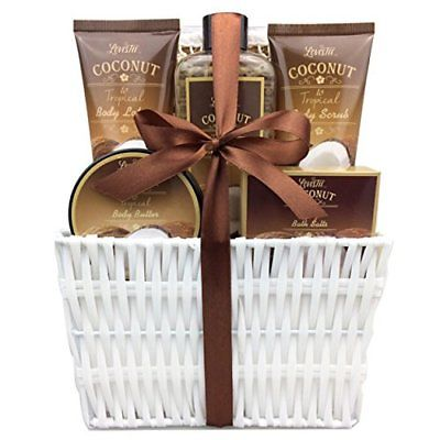 Spa-Gift-Basket-and-Bath-Set-with-Refreshing-Coconut-Fragrance-by-Lovestee-Bath-0