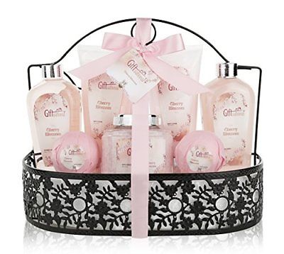 Spa-Gift-Basket-with-Heavenly-Cherry-Blossom-Fragrance-Bath-Set-0