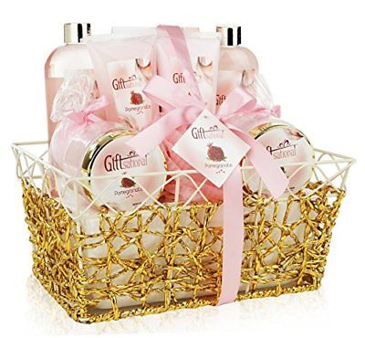 Spa-Gift-Basket-with-Refreshing-Pomegranate-Fragrance-in-Gold-Gift-Basket-0
