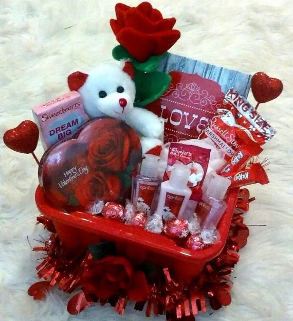 Womens-Valentines-Gift-Basket-Cherry-Blossom-Spa-Lindt-Chocolates-Rose-Bear-0