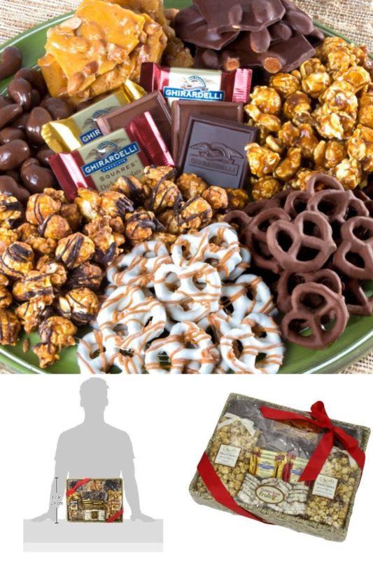 Chocolate Caramel /& Crunchy Gourmet Treats Basket for Xmas Gift Family /& Friends